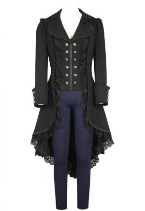 Damen Steampunk Gothic Mantel mit Spitze Barock Jacke Damen Frack viktorianisch Schwarz M