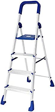 Happer Premium Foldable Aluminium Step Ladder, Clamber Pro, 4 Steps (Blue & Sa
