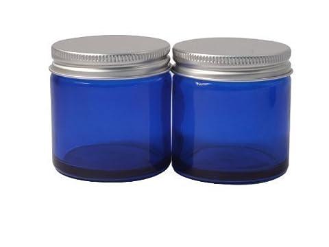 Elixirs Of Life - Bocaux verre bleu vide 60ml avec couvercle aluminium pour aromathérapie, cosmétiques et crème X2