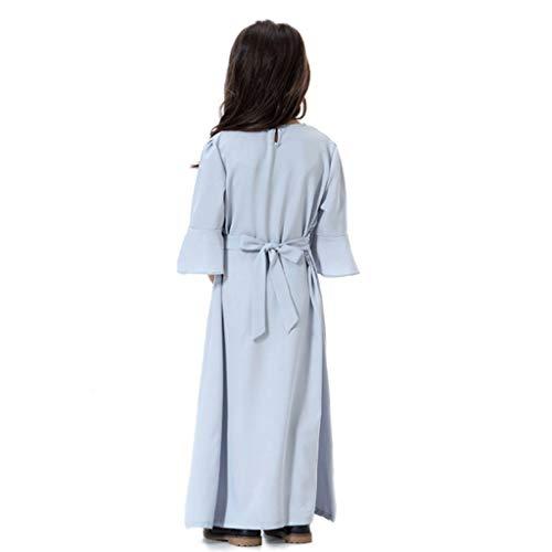 Masoness Kinder Mädchen Nette Blume Stickerei Aufflackernhülse Reine Muslimische Islamische Baumwolle Maxi Schaukel Kleid Lange Robe Hippie-vintage-robe