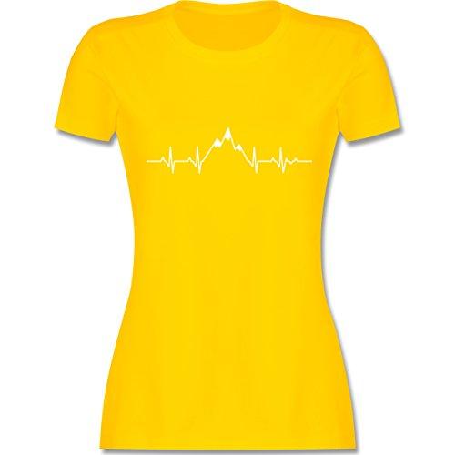Symbole - Herzschlag Berge - S - Gelb - L191 - Damen T-Shirt Rundhals (T-shirt Gelb Symbol)