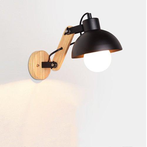 KMYX Holz versenkbare Wandleuchte einstellbare Licht Arm Eisen Lampenschirm Kinderzimmer Wandleuchten Studie Leselicht ( Color : Black ) (Einheitliche Größentabelle)