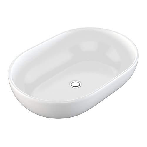 NEG Waschbecken Uno34A (oval) Aufsatz-Waschschale/Waschtisch (weiß) mit hohem Rand und Nano-Beschichtung