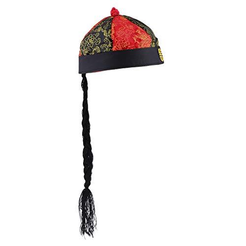 Baoblaze Chinesische Orientalische Kappe Mit Pferdeschwanz Jugend Kaiser Hat Costume Photography - Schwarz + rot, 55cm