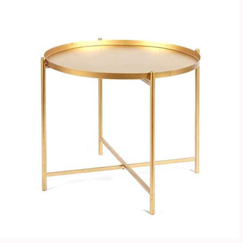 Table d'appoint,consoles Table d'extrémité Plateau en métal Table d'appoint de table de canapé Petite table ronde, Table de collation antirouille et imperméable pour utilisation à l'extérieur et à l'i