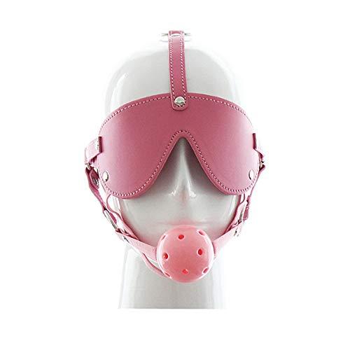SM Bondage Maske mit Knebel Ball Kugel Augenmaske Kopfmaske,Harness Geschirre Einstellbar Kopfharness Fetisch Sklave Sex Spielzeug für Paar (Pink)