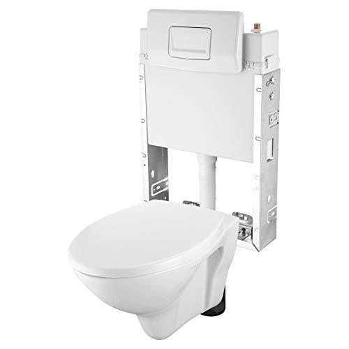 Domino Wand-WC-Set Vorwandelement inkl. WC-Tiefspüler komplett weiß 5-tlg + Drückerplatte