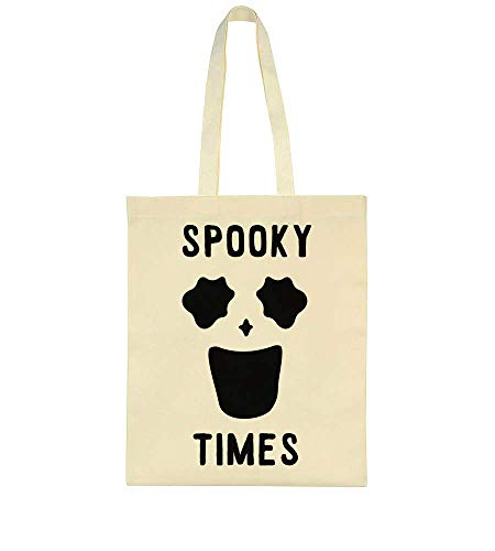 Spooky Times Funny Minimal Ghost Face Tote Bag