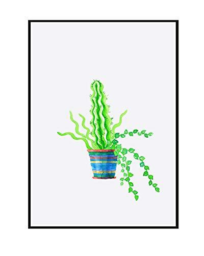 Niedliche Cartoon Grün Topfpflanzen Nordischen Stil Einfache Dekorative Leinwand Malerei Rahmenlose Malerei Kern 40X60 cm 3