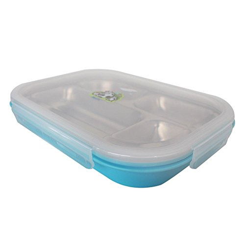 Basilic Stainless Steel Tray Storage Containers with Airtight Lid, 4 Section Design Perfect for Kids Lunch Box, or Adults Diet Plate Diet Food Control, BPA-Free, Leak-proof (blue)