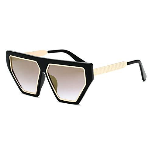 KUANGYE Stilvolle Vintage unregelmäßige Klarheit Sonnenbrille for Frauen Männer UV-Schutz farbige Linse im Freien Fahren Reisen Sommer Strand (Farbe : Black Frame Local Gold) (Frames And Locales)