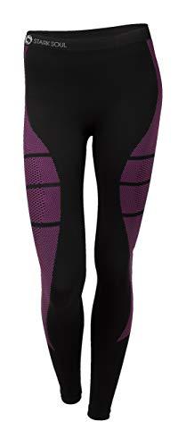 STARK SOUL Damen Seamless Ski Funktionswäsche, Outdoor Unterwäsche (S/M Hose schwarz/pink)