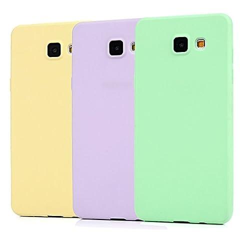KASOS 3 Pcs Coque Sumsung Galaxy A3 2016 Etui Housse Coque de Protection en TPU Silicone Style Simple Couleur Pure Légère Ultra-Mince Souple Vert / Violet / Jaune