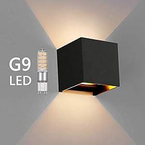 OOWOLF LED Wandleuchte, IP65 Wasserdichte Innen-Außenwandleuchte mit Austauschbarer G9 LED, 3000K Warmweiße LED-Wandleuchte für Wohnzimmer, Gärten Badezimmer, Balkon, Flur [Energieklasse A++]