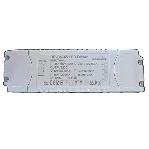 Dimmbarer LED Trafo 12V DC 45 Watt Netzteil dimmbar Treiber Transformator für Dimmer (Dc-led-treiber)