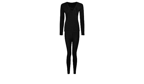 Womens Eyelet Neck Lounge Wear Ladies Ribbed Knit Joggers Set Tracksuit Sweats