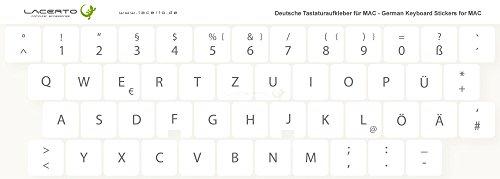 Lacerto 15x15mm Deutsche Tastaturaufkleber Aufkleber für Wireless iMac Tastaturen, mit mattem Schutzlaminat | Farbe: Weiß
