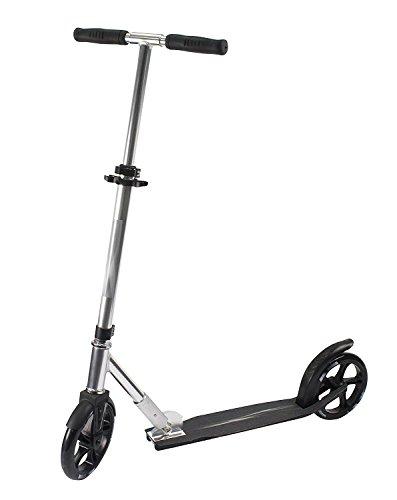 Alu-Scooter Tretroller für Kinder Jugendliche und Erwachsene, City-Roller Höhe verstellbar, faltbarer Klapproller stabil bis 100kg, große Räder 200mm hochwertige ABEC7- Kugellager silber/schwarz