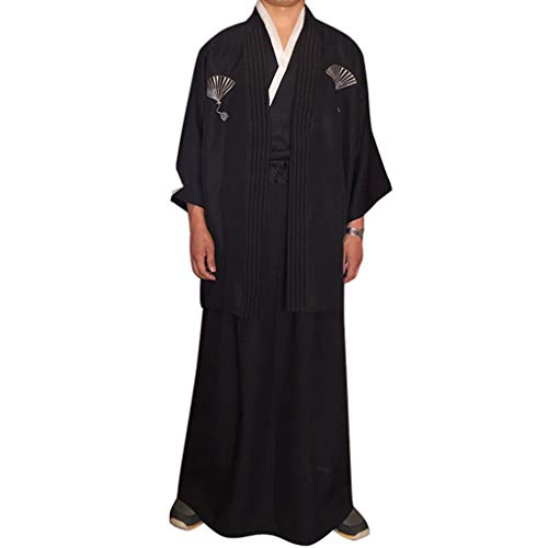 Beaums Männer Traditionelle Streifen Samurai Kleidung japanische Kimono Robe (Orca Baby Kostüm)