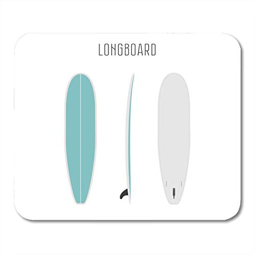 Deglogse Gaming-Mauspad-Matte, Colorful Longboard Surf Long Board with Three Sides Blank Projections Surfboard Types Figure White Active Mouse Pad,Desktop Computers