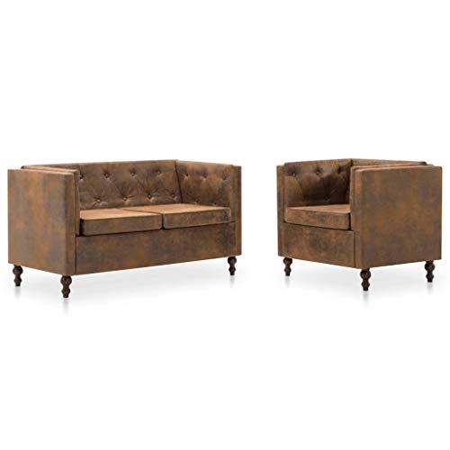 Festnight set 2 pz divani chesterfield in tessuto scamosciato marrone per soggiorno,salotto e ufficio,poltrona chesterfield in tessuto,divano chesterfield 2 posti in tessuto
