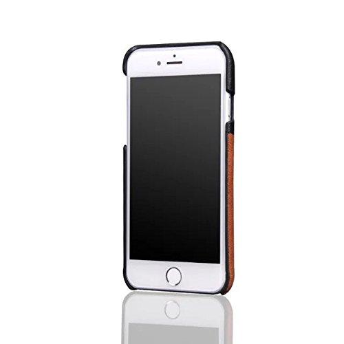 iPhone 8 Hülle, Fraelc iPhone 7 Ultra Hybrid Schutzhülle Hart Plastic Back Cover mit Leder Rückseite Kartenfächer Tasche Case für Apple iPhone 8 / 7 4,7 Zoll in Braun Grau
