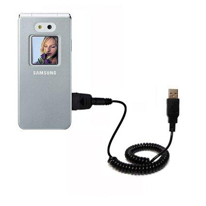 Aufgewickeltes USB-Kabel kompatibel mit Samsung SGH-E870 mit den Funktionen Datentransfer und Aufladen Verwendet die TipExchange Technologie