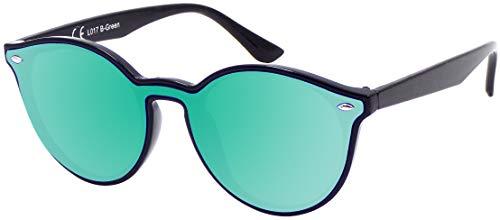 La Optica B.L.M. UV400 CAT 3 CE Damen Frauen Sonnenbrille Rund Round Monoglas - Einzelpack Glänzend Schwarz (Gläser: Grün verspiegelt)