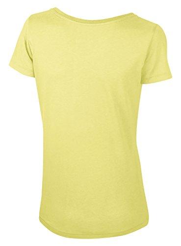 Lara Modal, Damen T-Shirt aus 50% Bio-Baumwolle und 50% Modal mit weitem Ausschnitt Gelb