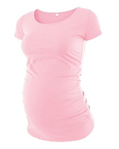Damen Kurzarm Umstandsshirt Mutterschaft Klassische Seite Geraffte T-Shirt Tops Mama Schwangerschaft Kleidung
