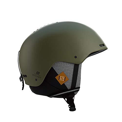 Salomon Herren Brigade+ Ski- und Snowboardhelm, ABS-Schale, Smart-Technologie, Kopfumfang 59-62 cm, grün (Olive Night), Größe L, L40536700