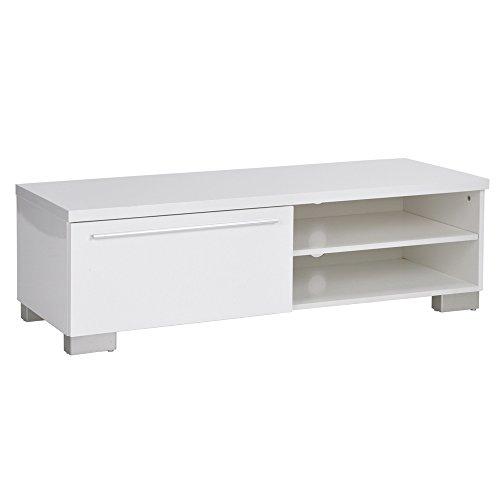 EGGREE Meuble TV avec Tiroirs Laque Blanc, Scandinave Design Chic et Simple MDF Bois Cabinet pour la TV,120 x 45 x 37 cm