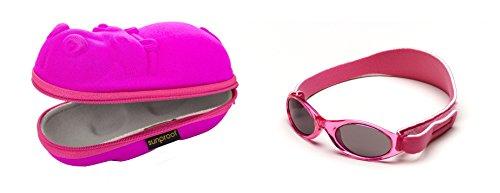 Baby Geschenkpackung rosa Nilpferd-Brillenetui und rosa Babybanz Sonnenbrille 0-2 Jahre.