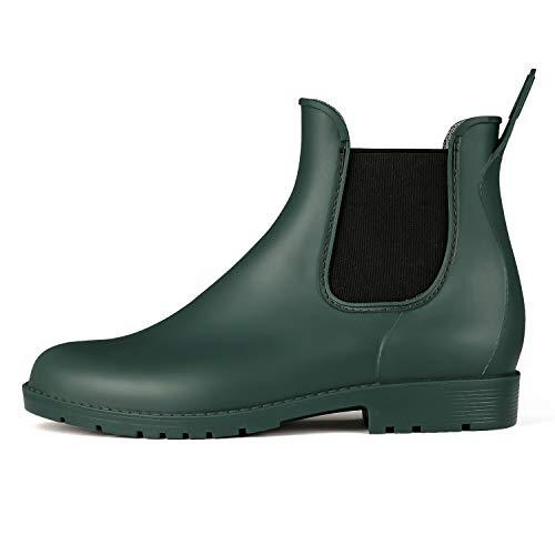 K KomForme Women Rain Boots, Chelsea Short Ladies Waterproof Wellington,Rain Shoes for Women Size 3-7