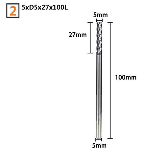 FMN-Werkzeuge, 1 stück 100mm Lange Hartmetall-schaftfräser Durchmesser 4/5/6 / 8mm 4 Flöte CNC-Fräswerkzeuge Fräser HRC 50 Schaftfräser (Größe : 5xD5x27x100L)