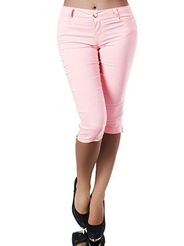 Diva-Jeans N951 Damen Caprihose Treggings Leggings Stoffhose Sommerhose Knielang 3/4 Capri, Größen:XXL, Farben:Rosa