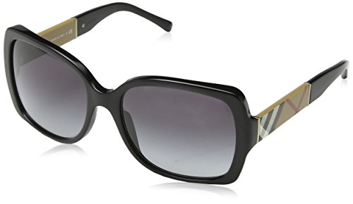 Burberry - Occhiali da sole BE 4160 Wayfarer, Donna, 34338G, Black, Gray Grad