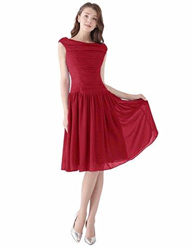 Dresstells, Robe courte de demoiselle d'honneur Robe de soirée de cocktail plissée vintage style année 50 en mousseline Rouge Foncé