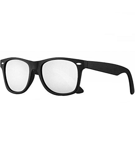 Caripe Retro Nerd Vintage Sonnenbrille verspiegelt Damen Herren 80er - SP (schwarz gummiert - Silber verspiegelt - polarisiert)
