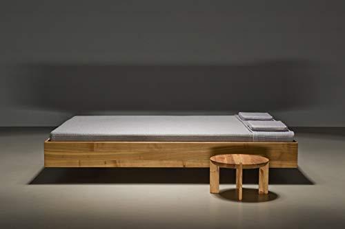 MAZZIVO Pool Hochwertiges Holz Bett schlicht & zeitlos filigran modern edel & elegant - italienisches Design 120 140 160 180 200 Überlänge Eiche Erle Buche Esche Kirschbaum (Erle, 140 x 200 cm) -
