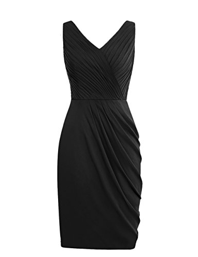 Dresstells, robe de demoiselle d'honneur Robe de soirée de cocktail courte sans manches col en V Noir