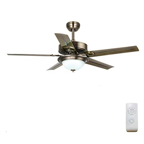 Elektro-leaf (YAMEIJIA Wohnzimmer Esszimmer Retro-Fernbedienung Fan Light Iron Leaf Elektro-Fan-Kronleuchter)