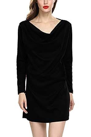 Fasumava Womens Plus Size Cotton Dress Winter Elegant Cowl Neck Mini Dresses Black S