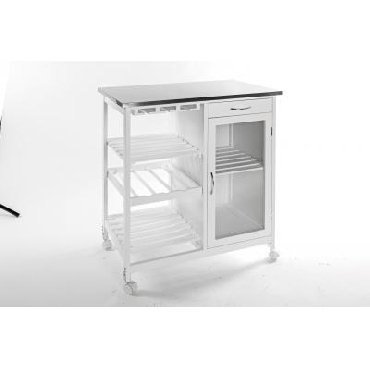 Kitchen Island Trolley with Table Top in Stainless Steel