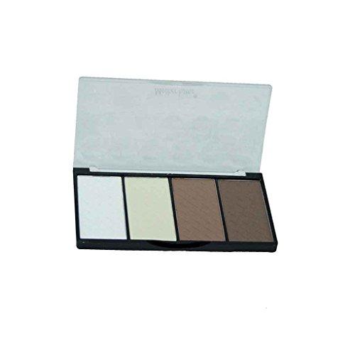 Babysbreath 4-Farben-Highlight Bronzer Puder-Palette Wange gebacken erröten Pulver für Kontur Gesichtsschatten Pulver (Farbe, Erröten Wange)