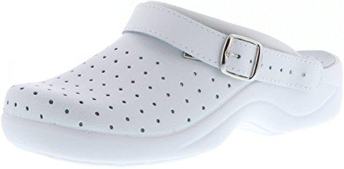 Saniflex Damen Clogs Arzt Praxis Arbeitsschuhe EN ISO 20347:2012 weiß, Größe:37, Farbe:Weiß - Komfort Garten Clog