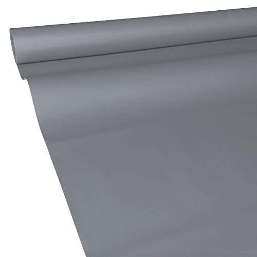 JUNOPAX 62111926 Papiertischdecke 50m x 1,00m Stahl-grau nass- und wischfest