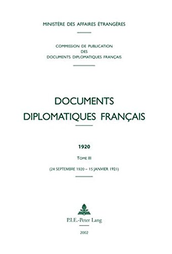 Documents Diplomatiques Francais, 1920: Tome Iii