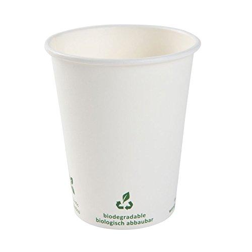 BIOZOYG Bio café en gobelet à Papier I Vaisselle compostable et biodégradable I Tasse en Carton à Boire I Café jetable Blanc avec Impression Icone 50 pièces 300ml 12 oz