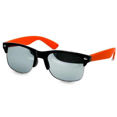 CASPAR Lunettes de soleil Clubmaster pour femme - plusieurs coloris - SG014 orange / argenté miroir